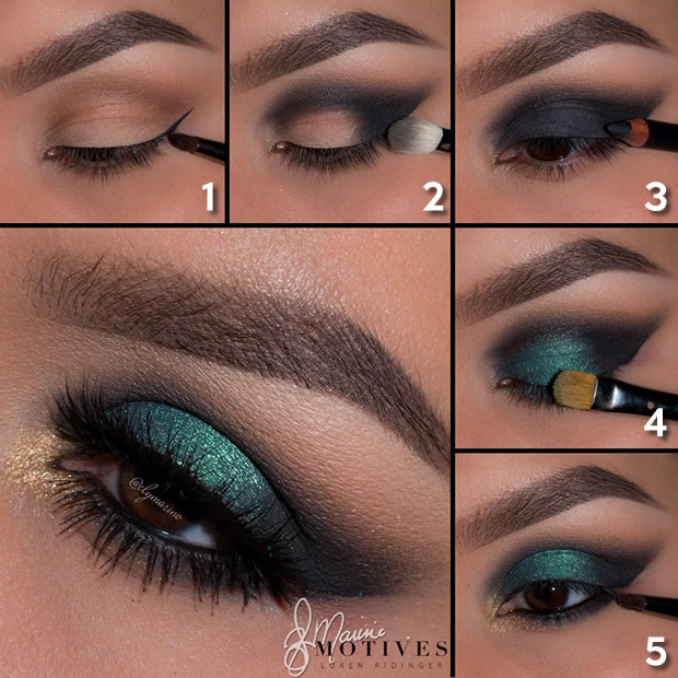 Green Goddess Eye Shadow Look - numbered
