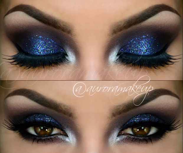 Burgundy Smokey Eye with Blue